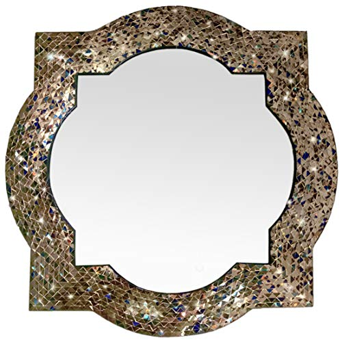 Mission Style Quatrefoil Mirror, Andalusian Lindaraja Designer Mosaic Glass Framed Wall Mirror, -