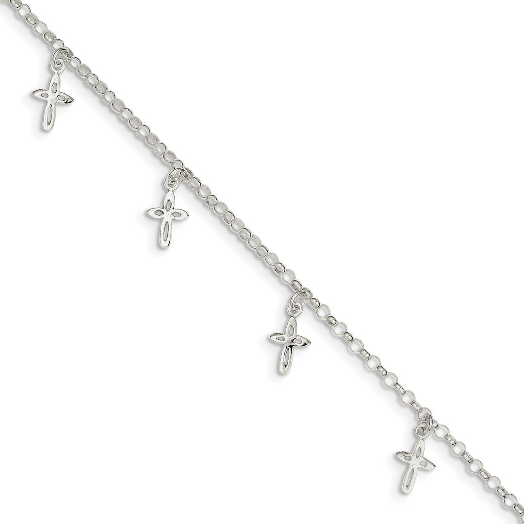 Ankle Bracelet Foot Jewelry Anklet - ICE CARATS 925 Sterling Silver 9 Cross Religious Anklet Ankle Beach Chain Bracelet Fine Jewelry Ideal Gifts For Women Gift Set From Heart IceCarats 337072758697918959
