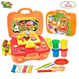 diy play dough - Deardeer 27 Pieces Grill Case Dough Playset Kids DIY Clay Dough Set Pretend Play Toy with 4 Large Cups Clay Dough in a Suitcase (Play Dough Color is Random)