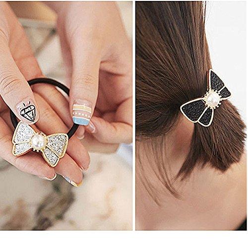 Casualfashion 6Pcs Fashion Women Girls Pearls Hair Rope Elastic Bow Hair Band Ring Ponytail Holder