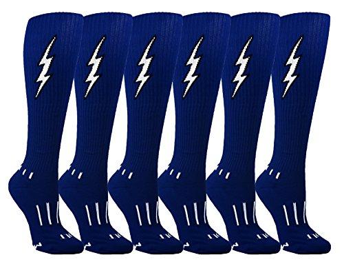 (MOXY Socks Womens 6-Pack Navy Blue with Black Knee-High Insane Bolt Soccer Socks)