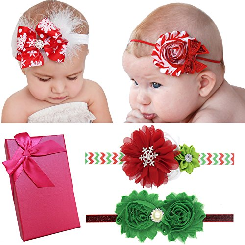 Elesa Miracle Hair Accessories Sweet Baby Girls Gift Box with Chiffon Lace Hair Bow Flower Headband (4pc- Christmas Mix Set A)