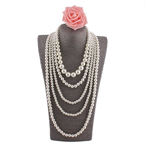Grace Jun Multilayer Strand Chain White Faux Pearls Flapper Beads Cluster Long Choker Necklace