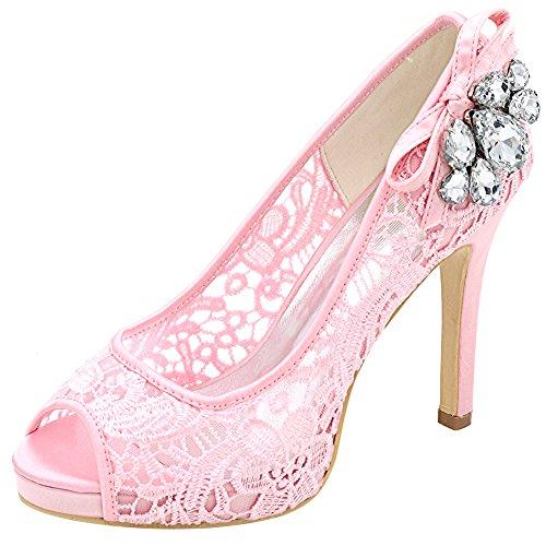 Loslandifen Damesschoenen Van Peep Toe Kanten Bloem Stiletto Hoge Hakken Sandalen Voor Bruiloft Roze Veter / 01d
