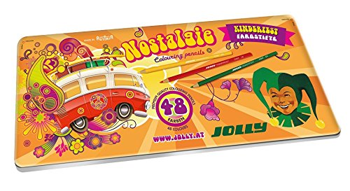 Jolly Supersticks Retro Edition Premium European Colored Pencils with Tin Carrying Case; Set of 48, Arts and Crafts, Perfect for Adult and Kids Coloring