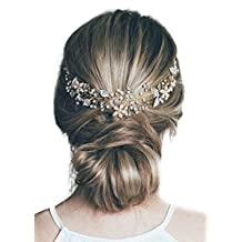Missgrace Wedding Bridal Crystal Rhinestone Leaf Bridal Headband Headpiece Evening Hair Accessories