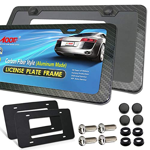 Carbon Fiber License Plate Frame- Aluminum 2 Pack 2 Holes Black License Plate Frames for US Vehicles, Front & Rear Holder with Screws ,Black Screw Caps and 2Pcs Adhesive Backed Foam Anti-rattle Pads