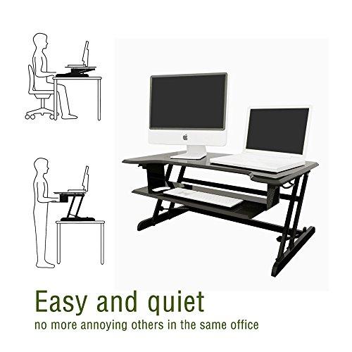 Standing Desk, Stand up Adjustable Desk Riser Converter for Desktop Laptop Dual Monitor by smugdesk (Image #3)