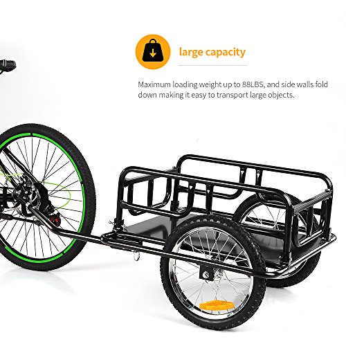 IKAYAA Folding Bike Cargo Trailer Hand Wagon Bicycle Luggage Trailer Storage Cart Carrier with Detachable Metal Frame Hitch by IKAYAA (Image #5)