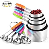 Kalurab Measuring Cups and Spoons Set, Multicolored Silicone Handles for Measuring Dry and Liquid Ingredients Perfect for Baking, Durable 304 Stainless Steel 5 Measuring Cups and 5 Measuring Spoons with 2 O Rings and 1 Free Coffee Measuring Spoon