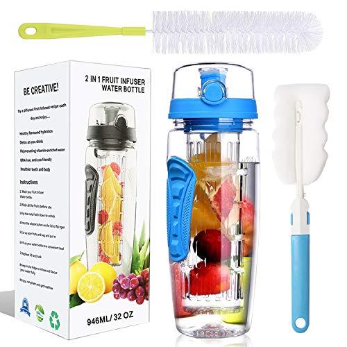 32 Oz Water Bottle - Water Fruit Infuser Bottle, BPA-Free Fruit Infusion Sports Bottle Flip Top Lid w Drinking Spout, Leak Proof Water Bottle, Made of Durable Tritan