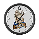 Large Wall Clock Faith Religious Praying Hands
