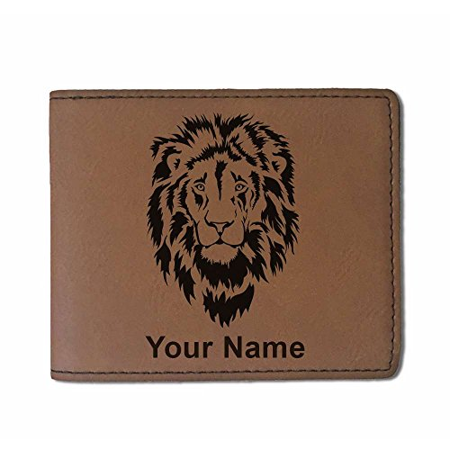 Faux Leather Wallet - Lion Head - Personalized Engraving Included (Dark Brown)