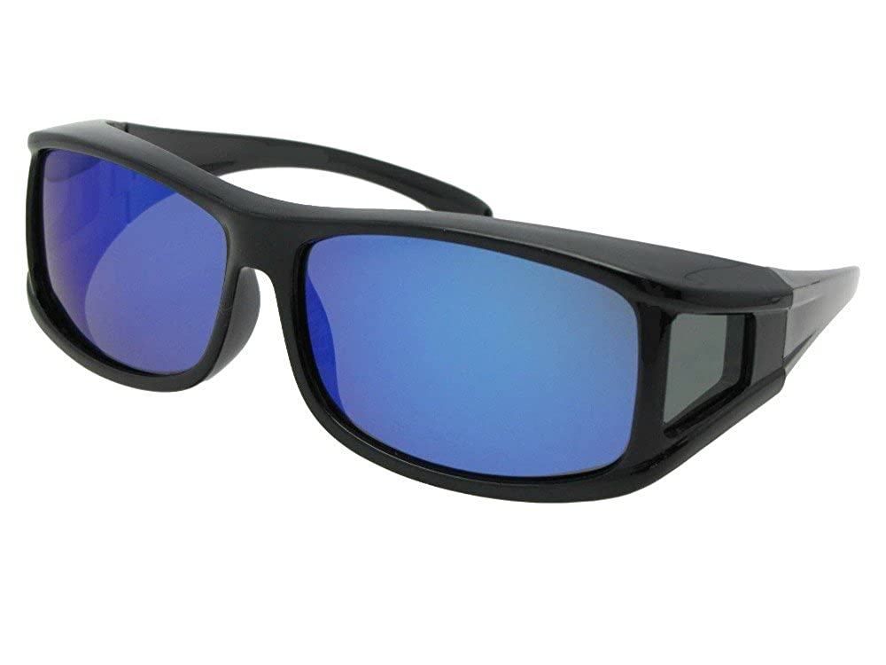 2c45b242e15 Amazon.com  Style F11 Polarized Fit Over With Sunglass Rage Carrying Pouch  (Black Frame-Blue Mirrored Gray Lenses)  Clothing