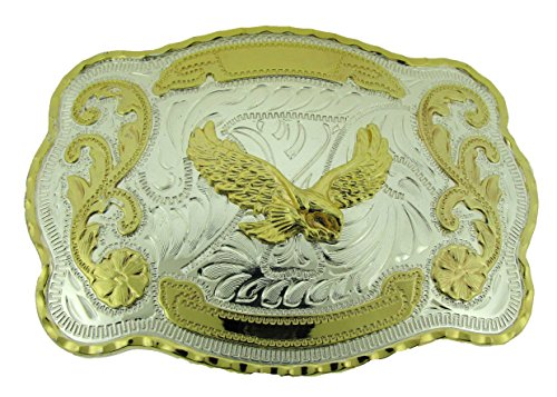 (RIDE AWAY Rodeo Soaring Eagle Western Style Gold/Silver Color Multiple Size/Shape Belt Buckles (Soaring Eagle Large))