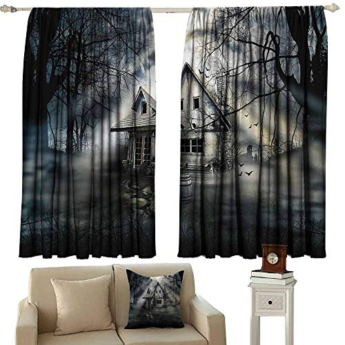 Diycon Decor Curtains Halloween Haunted House with Dark Horror Atmosphere Cloudy Mysterious Frightening Grey White Black Blackout Draperies for Bedroom Living Room W72 xL72