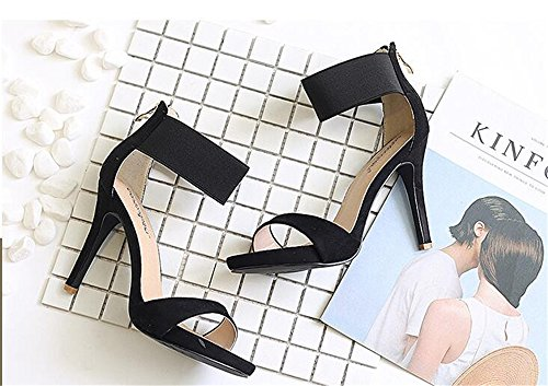 Ladies Toe Peep Ankle Womens Stiletto size Sandals High Strap Heel Platform Shoes Black dHInwd5qx