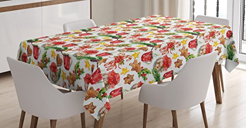 Ambesonne Christmas Tablecloth, Old Retro Vintage Watercolor Cookies Candy Cones Gingerbread Stars Pines Artwork, Dining Room Kitchen Rectangular Table Cover, 60 W X 84 L inches, -
