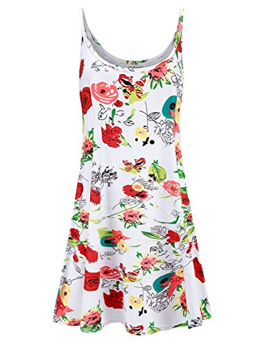 Knit Shirred Dress (Plus Size Women's Casual Spaghetti Loose Swing Slip Dress (Floral Print - White,1X))