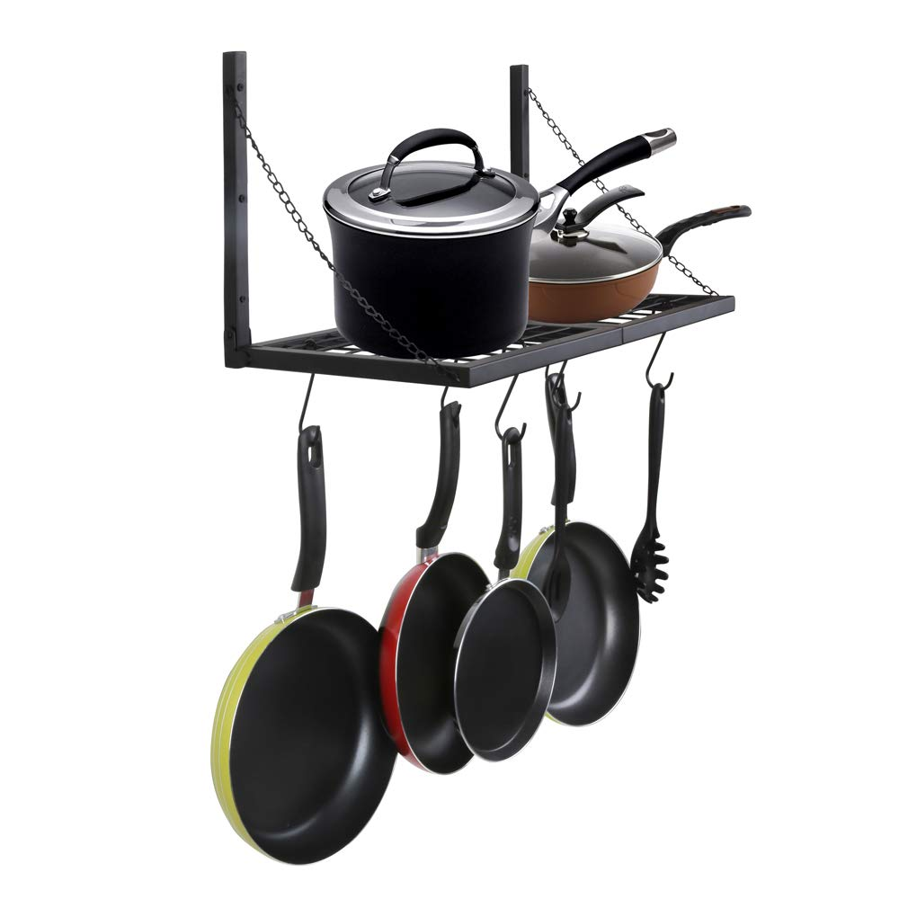 OROPY Pot Pan Hanging Rack Wall Mounted Industrial Foldable Wall Shelf with 6 S Hooks, Ideal for Utensils, Books, Plants 23.6''/L X 11.8''/W (Black) by OROPY (Image #1)
