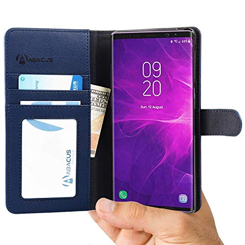 (Abacus24-7 Samsung Galaxy Note 9 Case, Wallet Case with Flip Cover and Stand, Blue)