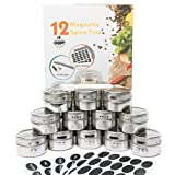 Magnetic Spice Tins by ZeeBelka-12 Multi-Purpose Stainless Steel Containers with 150 labels and chalkboard pen- Round Jars for Storage Organization with Clear Lids-Magnetic on Fridge & Sift/Pour Slots