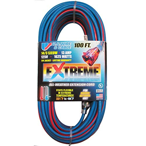 US Wire 98100 14/3 100-Foot SJEOW TPE Cold Weather Extension Cord Blue with Lighted Plug (Extension Temp Cable)