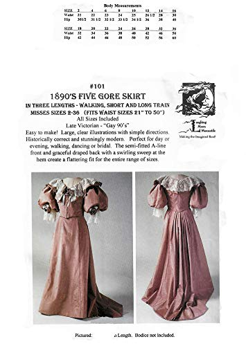 (1890's Victorian Five Gore Skirt in 3 Lengths Pattern)