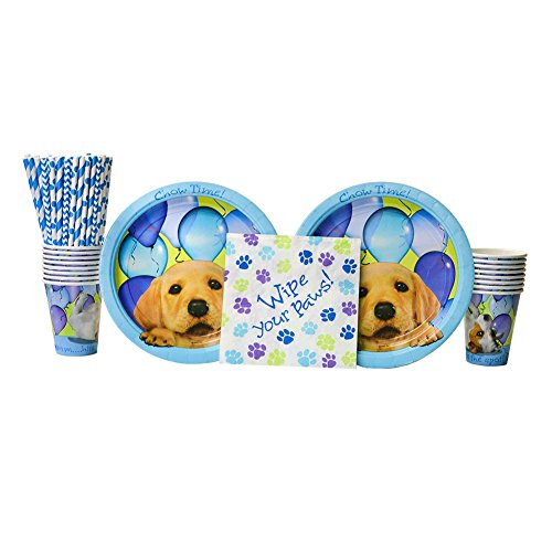 Party Pups Party Pack for 16 Guests - Straws, Lunch Plates, Luncheon Napkins, and (Puppies Paper)