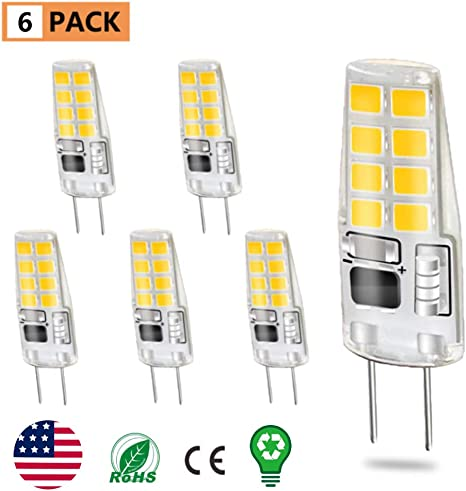 6 Pack Rye-Tech G8 LED Bulbs,Dimmable G8 LED Light Bulbs 3W Equivalent to 20W Halogen G8 Led Bulb Daylight White 6000K for Light Fitting,Under Counter Kitchen Lighting,Under-Cabinet Light,Puck Light 120V AC