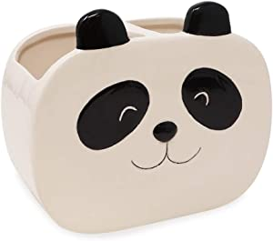 Isaac Jacobs Black and White Ceramic Panda Makeup Brush Holder, Multi-Purpose 2-Section Organizer. Bathroom, Kitchen, Bedroom, Office Décor (2-Section Cup, Panda)
