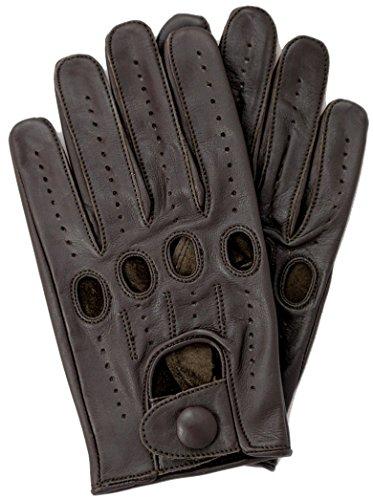 Riparo Genuine Leather Full-finger Driving Gloves (Medium, Dark Brown)
