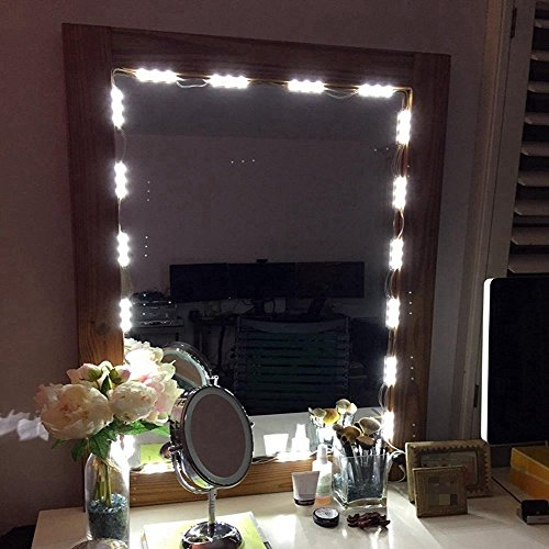 COSOON Vanity Mirror LED Light, DIY Cosmetic Makeup Mirror Lamp, 10ft 60 LED Light Kit with Remote, White T016