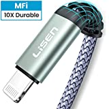 (6ft / 1.88m) LISEN iPhone Charger Cable, [ Apple MFi Certified ] [ Never Rupture ] Lightning to USB A Cable, 2.4A Fast Charging Cord Compatible with 11 Pro Max XS XR X 8 7 6S 6 Plus iPad