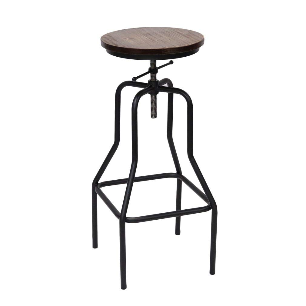 1 pcs-StyleB ICOCO 2x Barstools Retro Dining Chair Wood Top MetalVintage Rustic Designer Kitchen Pub Bar Designer Stool Industrial Style