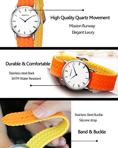 Top Plaza Unisex Casual Simple Silicone Strap Analog Quartz Watch Unique Reversible Doulbe Color Band Japanese Quartz Movement Waterproof Watch(Black and White) by Top Plaza (Image #5)