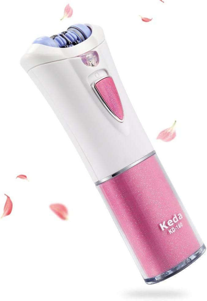 Depiladora, Queenmew Depiladora Electrica Mujer Luz LED, Cuidado de Electrica Recortador Afeitadora Para Mujer, Portátil Maquina Depilar De Mujer Bikini, Afeitadora Mujer & Depilación Facial Mujer