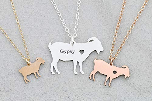 Goat Necklace - Billy Pygmy - IBD - Personalize with Name or Date - Choose Chain Length - Pendant Size Options - 935 Sterling Silver 14K Rose Gold Filled - Ships in 1 Business Day by DistinctlyIvy