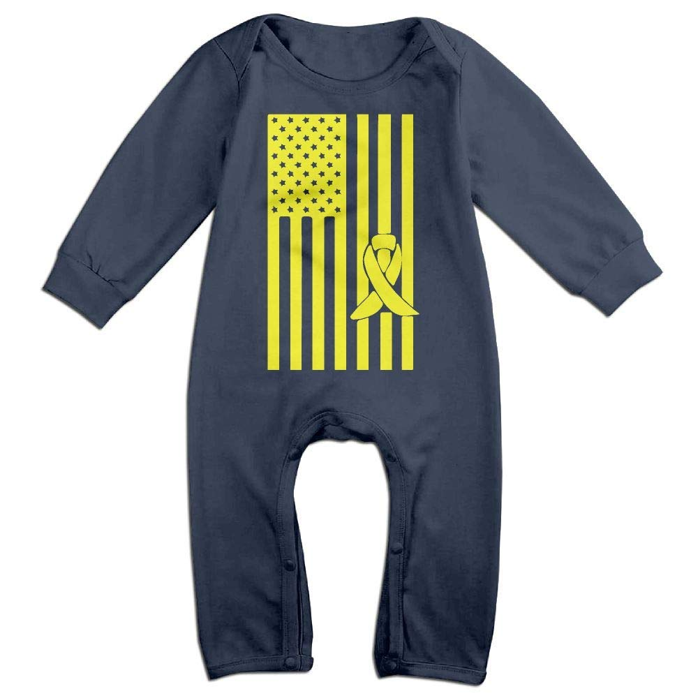 TYLER DEAN Newborn Baby Long Sleeve Jumpsuit Bladder Cancer Awareness American Flag Toddler Jumpsuit