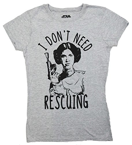 Star Wars Disney Princess Leia Don't Need Rescuing Juniors T-Shirt … (Extra Large, Gray)