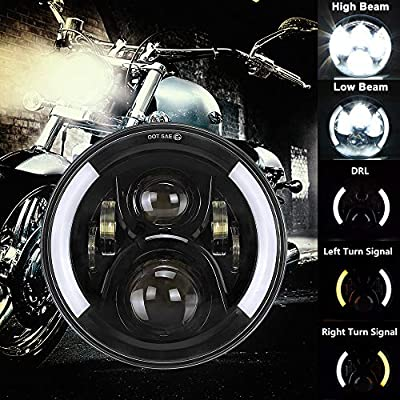7 Inch LED Motorcycle Headlight DOT Approved Halo LED Round Headlight Motorcycle Angle Eyes with White DRL & Amber Turn Signal for Road King Ultra Classic Electra Street Glide: Automotive
