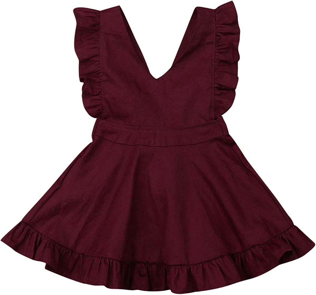 dingshuo Infant Baby Girls Halter Dress Toddler Hawaiian Summer Dress Off-Shoulder Ruffle Shorts Skirt