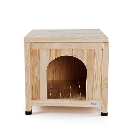 Perrera Interior de Madera Perro pequeño Cama para Mascotas Casa de Perro portátil Fácil ensamblaje Suministros para Mascotas Jaula 50 × 50 × 47.5 cm Color ...