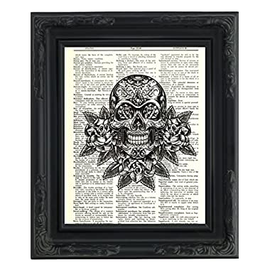 Dictionary Art Print - Day of the Dead Sugar Skull - Printed on Recycled Vintage Dictionary Paper - 8 x11  - Mixed Media Poster on Vintage Dictionary Page