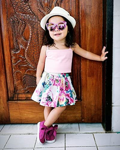 Baby Halter Sleeveles Pnk Tanks Tops+Vivid Rose Floral Print Short Skirt Dress Girls Clothing Set