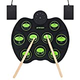 ammoon Electronic Drum Set, Roll Up Drum Kit 9 Drum Pads 2 Foot Pedals for Kids Children Beginners (No Speakers)