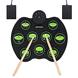 ammoon Roll Up Drum Kit, Portable Electronic Drum Set 9 Drum Practice Pads with Headphone Jack 2 Foot Pedals for Kids…
