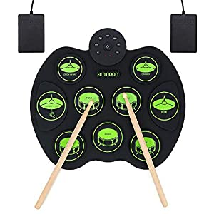 ammoon Roll Up Drum Kit, Portable Electronic Drum Set 9 Drum Practice Pads with Headphone Jack 2 Foot Pedals for Kids… Drum Sets