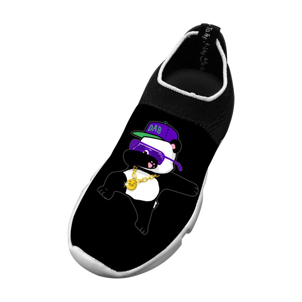 MREIO Panda Childrens Lightweight Fly Knit Shoes Leisure Loafers Sneakers Running Shoes For Girls
