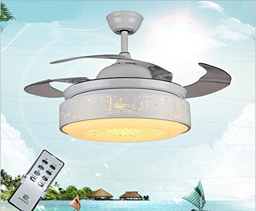 - TiptonLight Led Retractable Ceiling Fan with White-42(A) Inch with White Lacquer-Simplicity Style Energy Conservation Apply to Living Room,Bedroom,Indoor and Outdoor